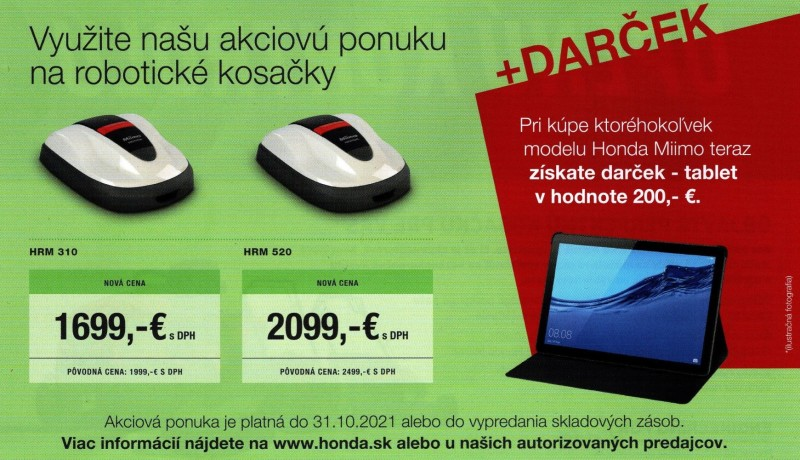 Honda Miimo akcia 2021 + Tablet